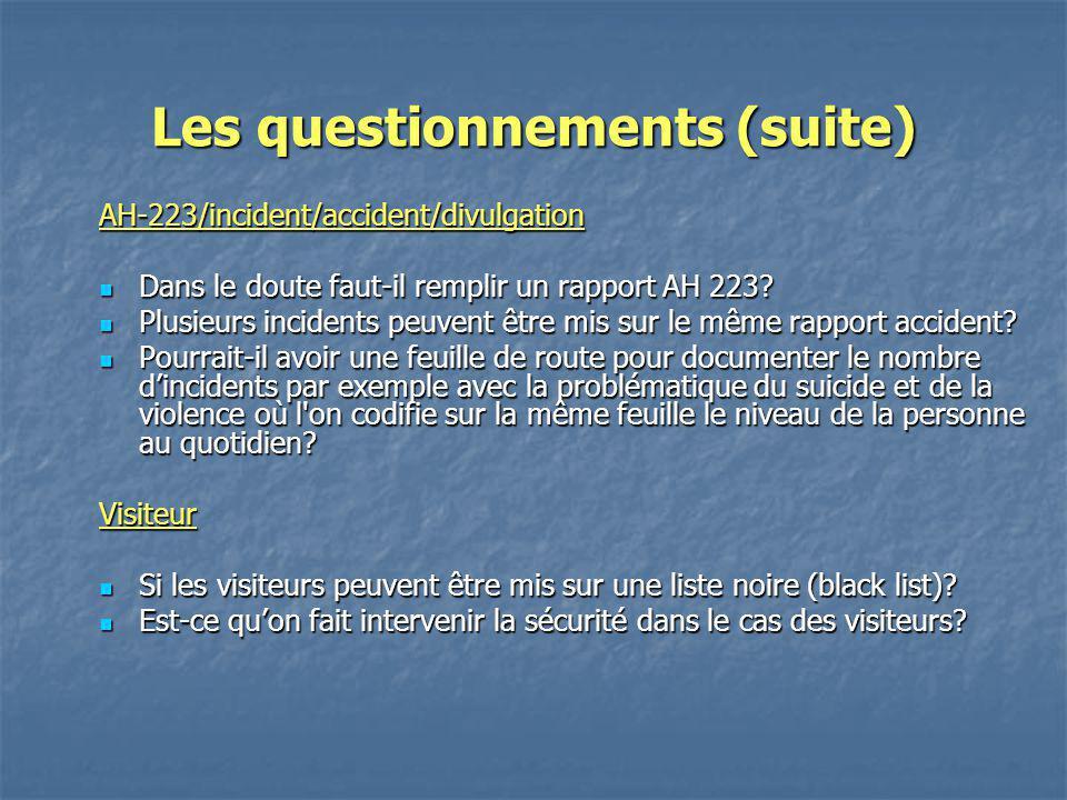 Les questionnements (suite) AH-223/incident/accident/divulgation Dans le doute faut-il remplir un rapport AH 223? Dans le doute faut-il remplir un rap