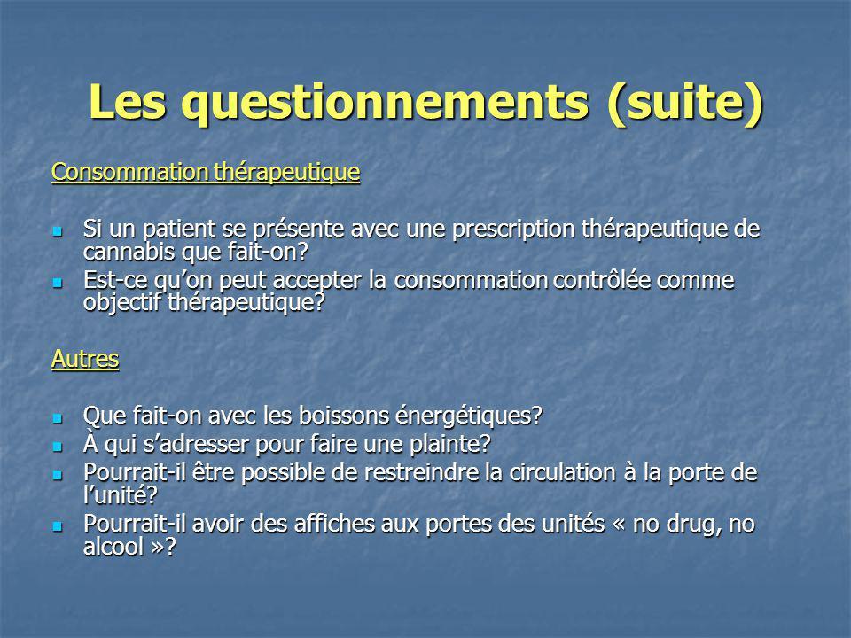 Les questionnements (suite) Consommation thérapeutique Si un patient se présente avec une prescription thérapeutique de cannabis que fait-on? Si un pa