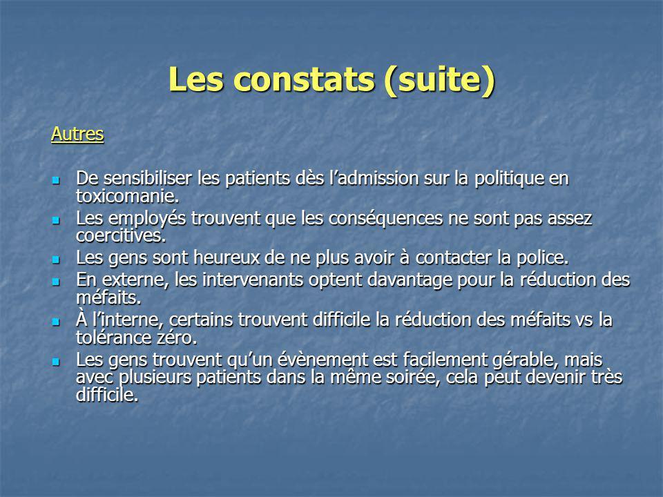 Les constats (suite) Autres De sensibiliser les patients dès ladmission sur la politique en toxicomanie. De sensibiliser les patients dès ladmission s