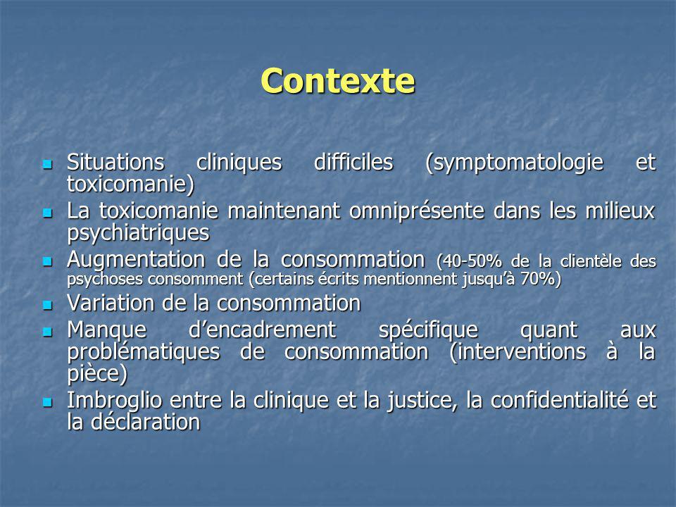 Contexte Situations cliniques difficiles (symptomatologie et toxicomanie) Situations cliniques difficiles (symptomatologie et toxicomanie) La toxicoma