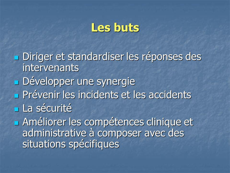 Les buts Diriger et standardiser les réponses des intervenants Diriger et standardiser les réponses des intervenants Développer une synergie Développe