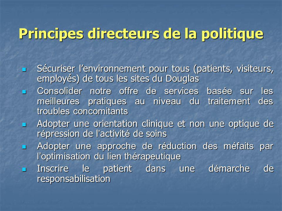 Principes directeurs de la politique Sécuriser lenvironnement pour tous (patients, visiteurs, employés) de tous les sites du Douglas Sécuriser lenviro