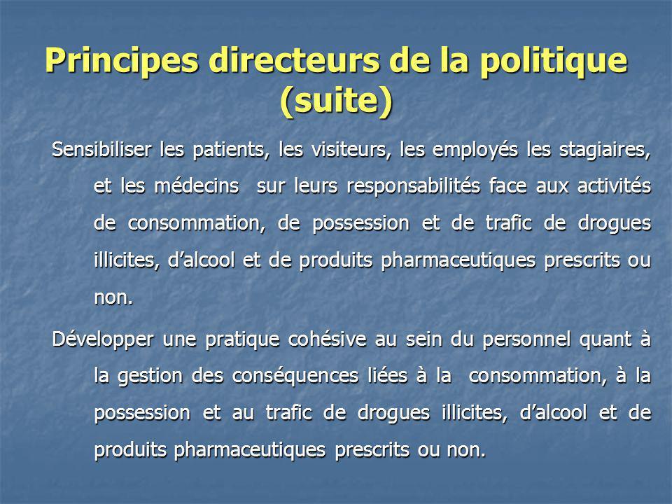 Principes directeurs de la politique (suite) Sensibiliser les patients, les visiteurs, les employés les stagiaires, et les médecins sur leurs responsa