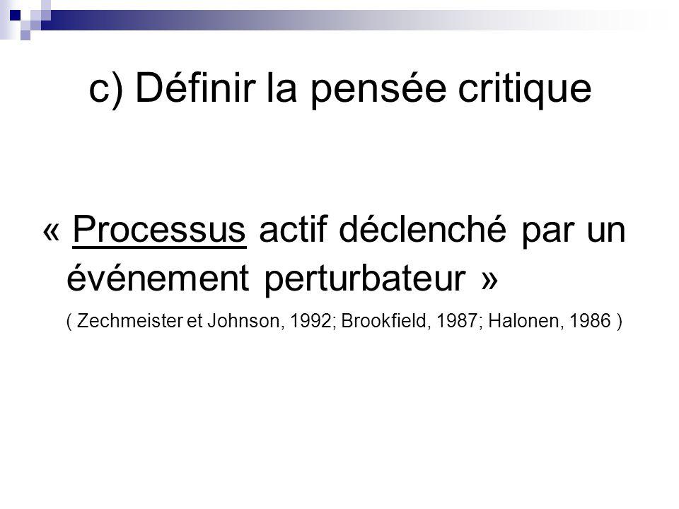 c) Définir la pensée critique « Processus actif déclenché par un événement perturbateur » ( Zechmeister et Johnson, 1992; Brookfield, 1987; Halonen, 1986 )