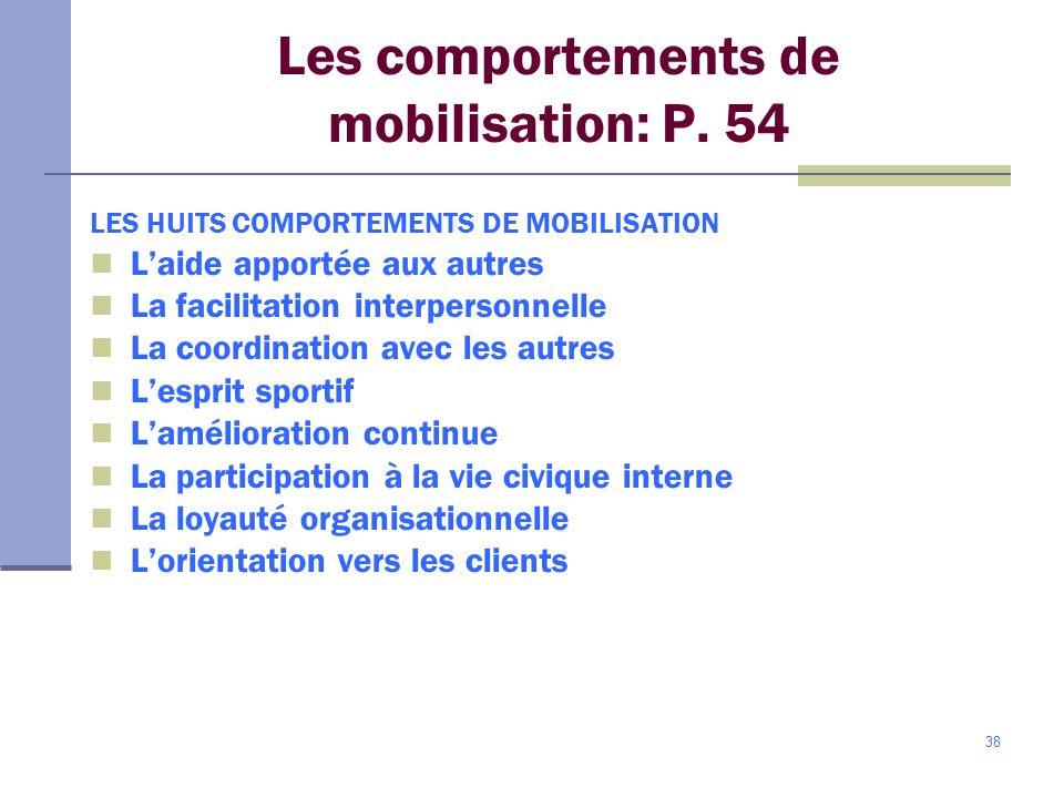 38 Les comportements de mobilisation: P.