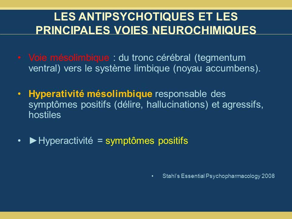 LES ANTIPSYCHOTIQUES ET LES PRINCIPALES VOIES NEUROCHIMIQUES Voie mésolimbique : du tronc cérébral (tegmentum ventral) vers le système limbique (noyau accumbens).