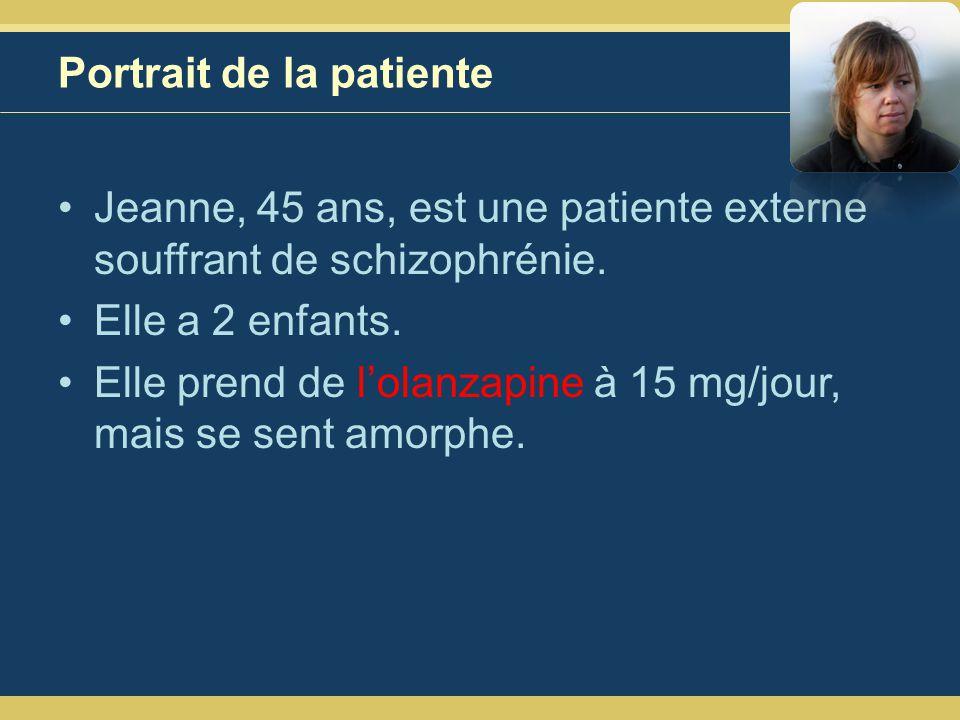 Portrait de la patiente Jeanne, 45 ans, est une patiente externe souffrant de schizophrénie.