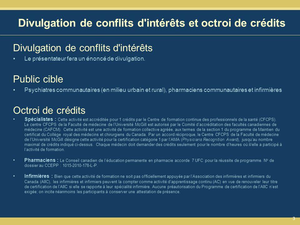 33 Divulgation de conflits d intérêts et octroi de crédits Divulgation de conflits d intérêts Le présentateur fera un énoncé de divulgation.