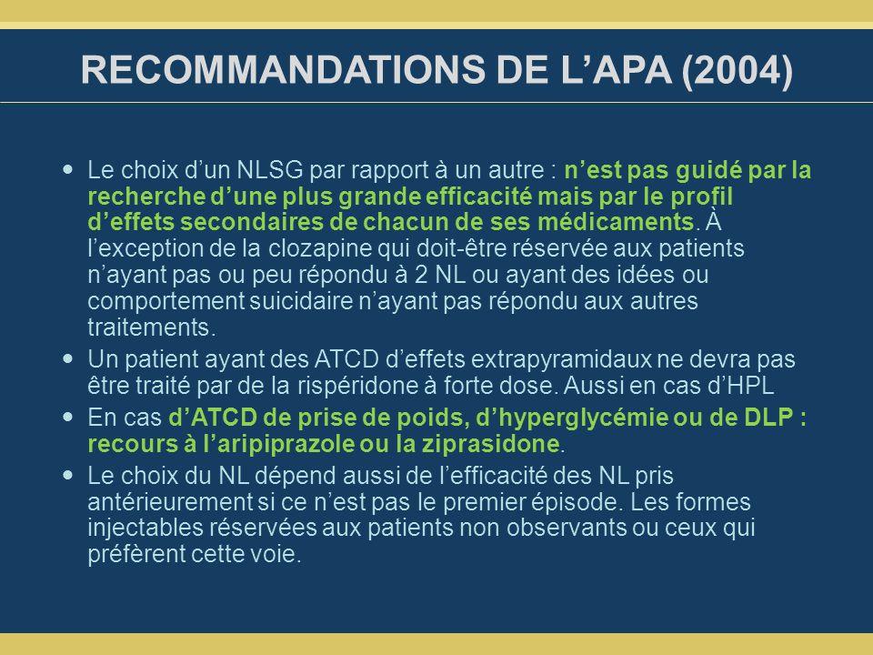 RECOMMANDATIONS DE LAPA (2004) Le choix dun NLSG par rapport à un autre : nest pas guidé par la recherche dune plus grande efficacité mais par le profil deffets secondaires de chacun de ses médicaments.