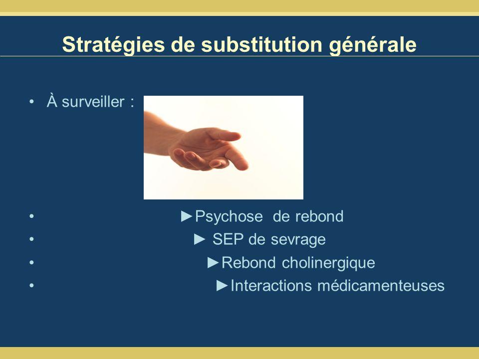 Stratégies de substitution générale À surveiller : Psychose de rebond SEP de sevrage Rebond cholinergique Interactions médicamenteuses