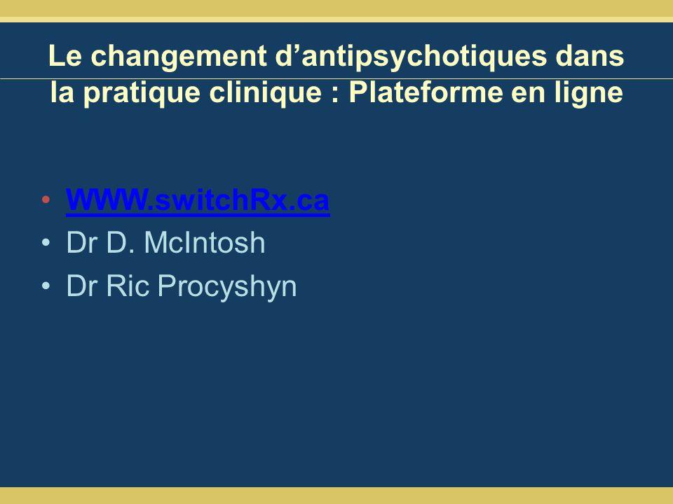 Le changement dantipsychotiques dans la pratique clinique : Plateforme en ligne WWW.switchRx.ca Dr D.