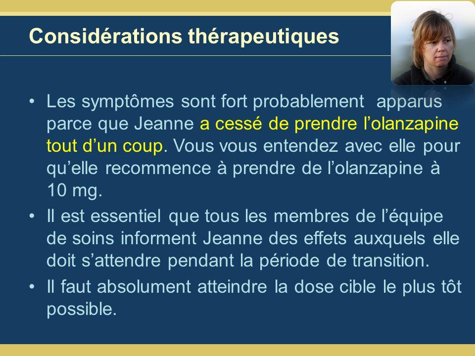 Considérations thérapeutiques Les symptômes sont fort probablement apparus parce que Jeanne a cessé de prendre lolanzapine tout dun coup.