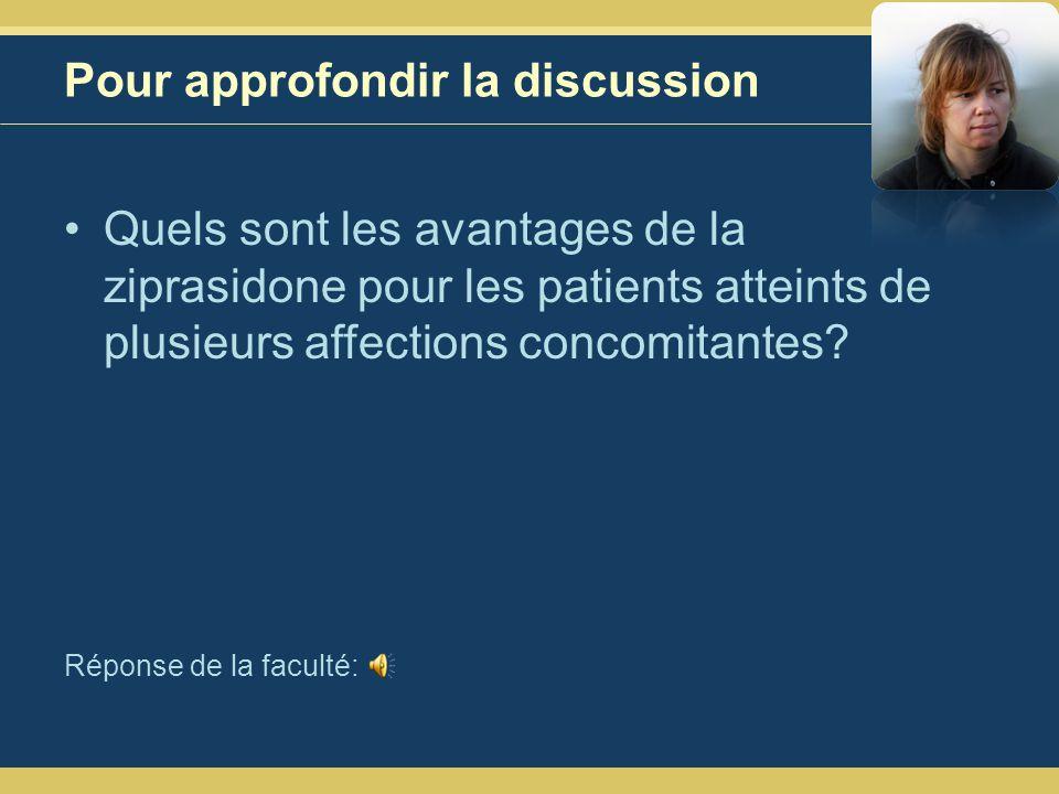 Pour approfondir la discussion Quels sont les avantages de la ziprasidone pour les patients atteints de plusieurs affections concomitantes.
