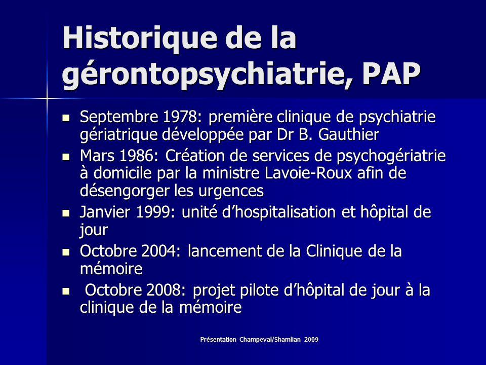 Présentation Champeval/Shamlian 2009 Historique de la gérontopsychiatrie, PAP Septembre 1978: première clinique de psychiatrie gériatrique développée