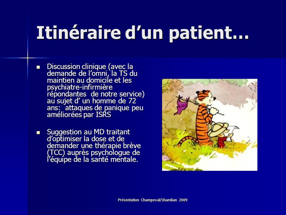 Présentation Champeval/Shamlian 2009 Itinéraire dun patient… Discussion clinique (avec la demande de lomni, la TS du maintien au domicile et les psych