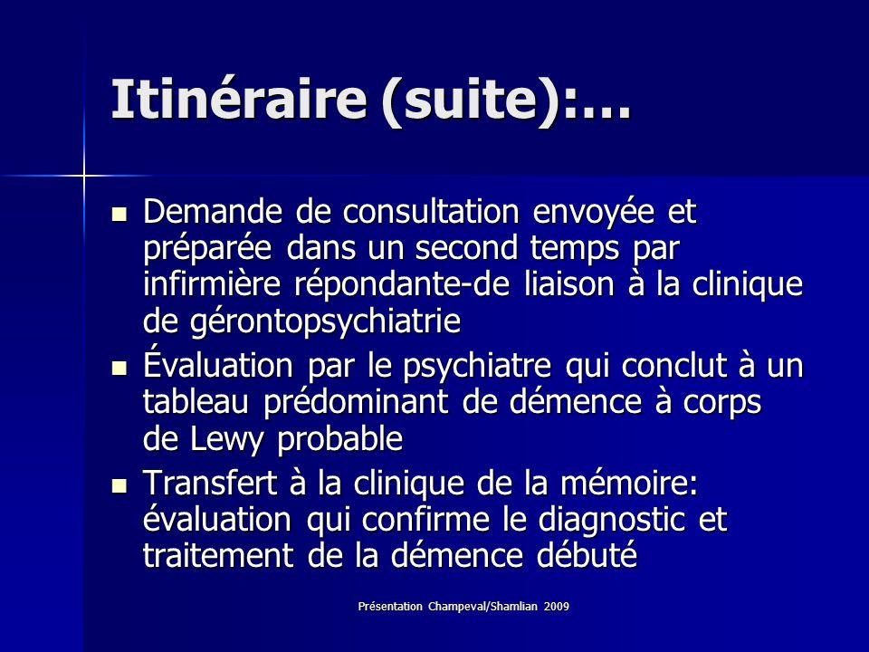 Présentation Champeval/Shamlian 2009 Itinéraire (suite):… Demande de consultation envoyée et préparée dans un second temps par infirmière répondante-d