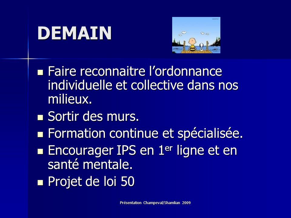 Présentation Champeval/Shamlian 2009 DEMAIN Faire reconnaitre lordonnance individuelle et collective dans nos milieux. Faire reconnaitre lordonnance i