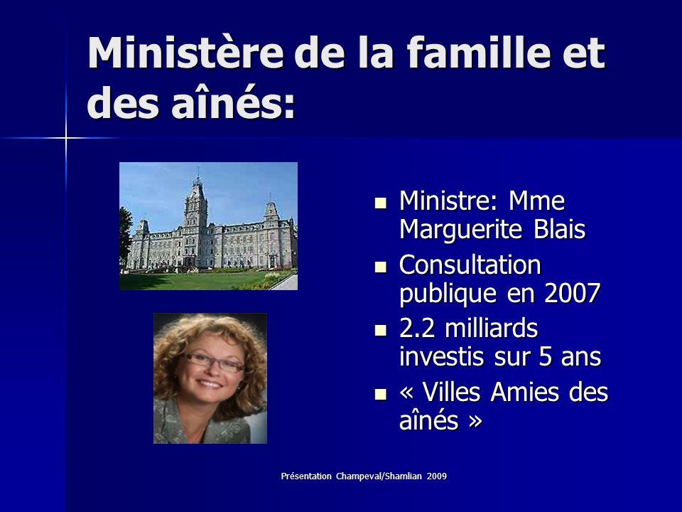 Présentation Champeval/Shamlian 2009 Ministère de la famille et des aînés: Ministre: Mme Marguerite Blais Ministre: Mme Marguerite Blais Consultation