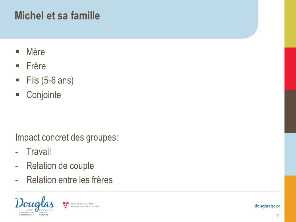 Michel et sa famille Mère Frère Fils (5-6 ans) Conjointe Impact concret des groupes: -Travail -Relation de couple -Relation entre les frères 14