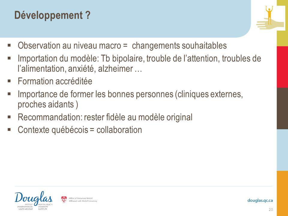 Développement ? Observation au niveau macro = changements souhaitables Importation du modèle: Tb bipolaire, trouble de lattention, troubles de lalimen