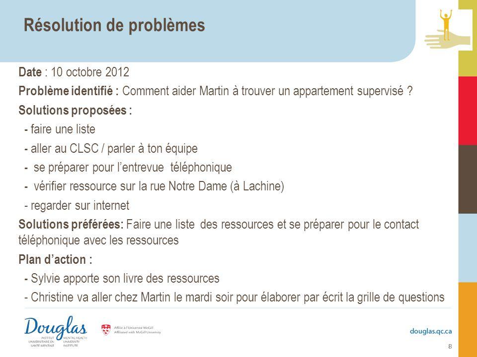 8 Résolution de problèmes Date : 10 octobre 2012 Problème identifié : Comment aider Martin à trouver un appartement supervisé ? Solutions proposées :