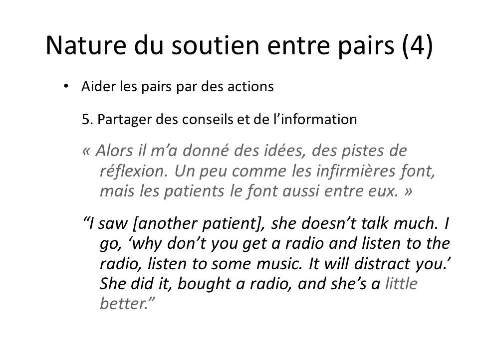Nature du soutien entre pairs (4) Aider les pairs par des actions 5.