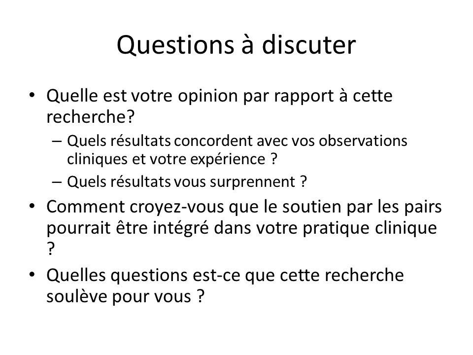 Questions à discuter Quelle est votre opinion par rapport à cette recherche.
