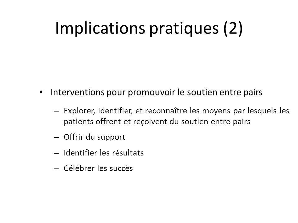 Implications pratiques (2) Interventions pour promouvoir le soutien entre pairs – Explorer, identifier, et reconnaître les moyens par lesquels les patients offrent et reçoivent du soutien entre pairs – Offrir du support – Identifier les résultats – Célébrer les succès