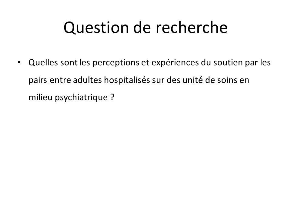 Question de recherche Quelles sont les perceptions et expériences du soutien par les pairs entre adultes hospitalisés sur des unité de soins en milieu psychiatrique ?