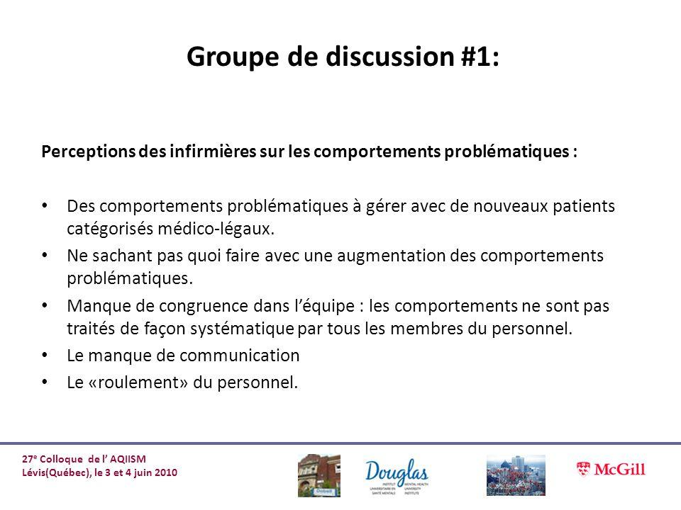 Groupe de discussion #1: Perceptions des infirmières sur les comportements problématiques : Des comportements problématiques à gérer avec de nouveaux