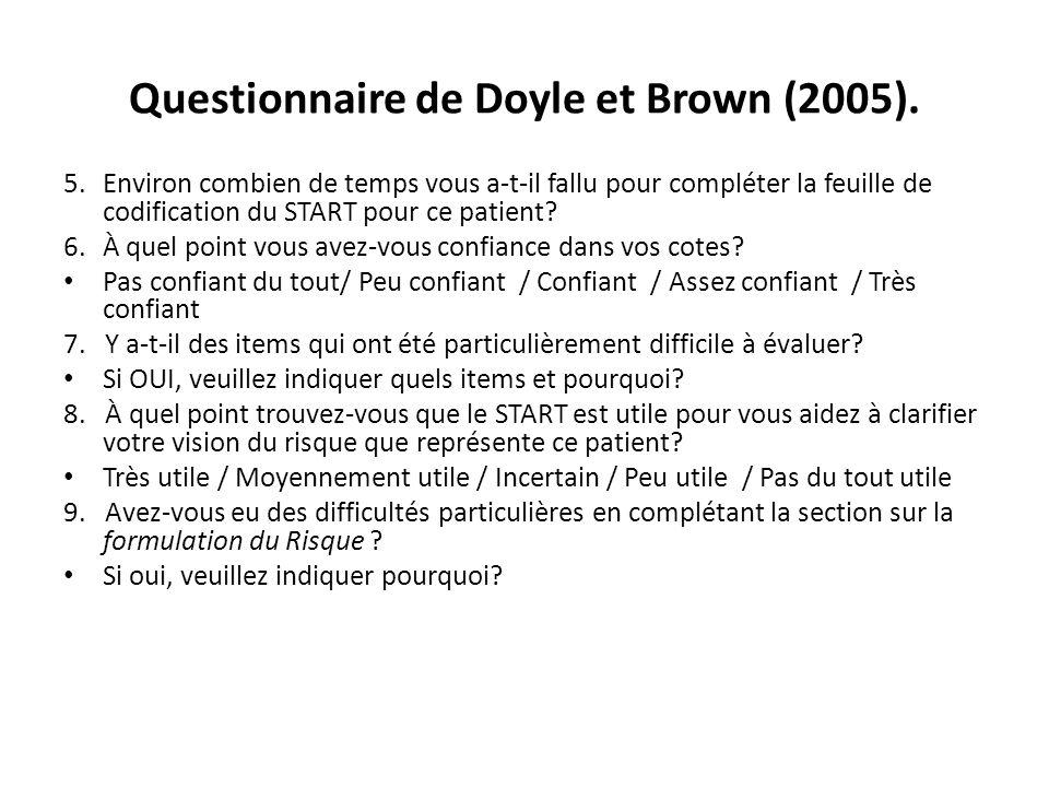 Questionnaire de Doyle et Brown (2005). 5.Environ combien de temps vous a-t-il fallu pour compléter la feuille de codification du START pour ce patien