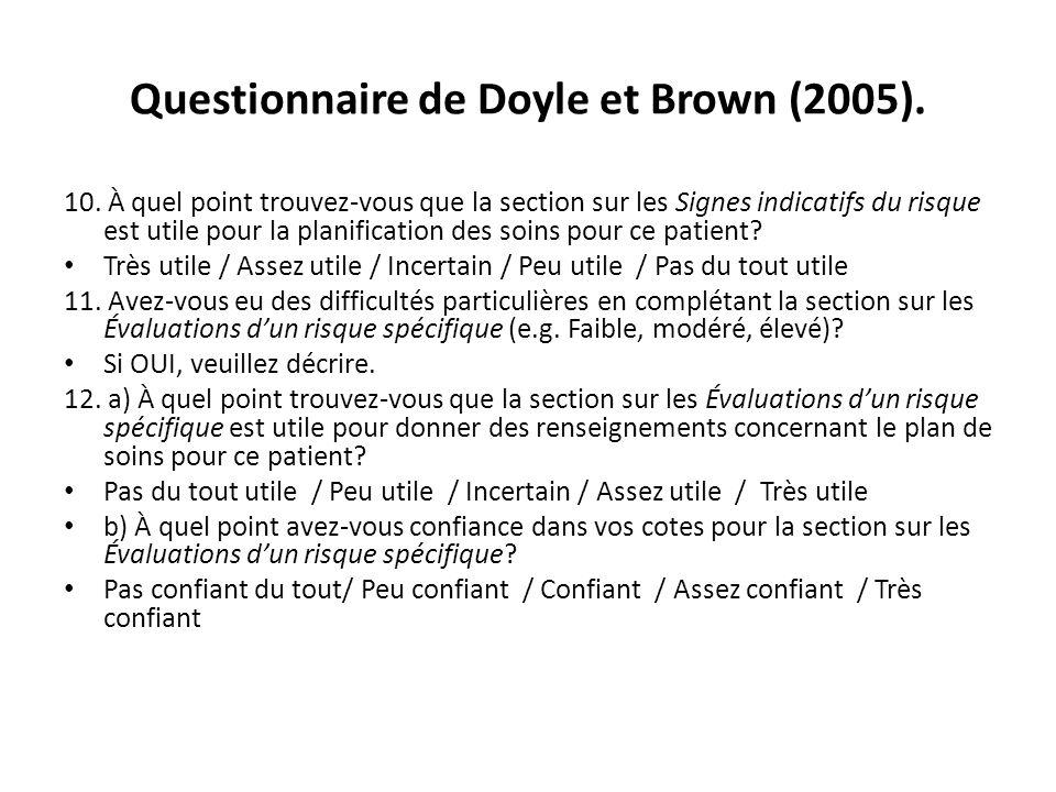 Questionnaire de Doyle et Brown (2005). 10. À quel point trouvez-vous que la section sur les Signes indicatifs du risque est utile pour la planificati
