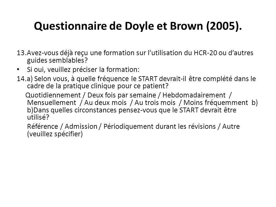 Questionnaire de Doyle et Brown (2005). 13.Avez-vous déjà reçu une formation sur lutilisation du HCR-20 ou dautres guides semblables? Si oui, veuillez