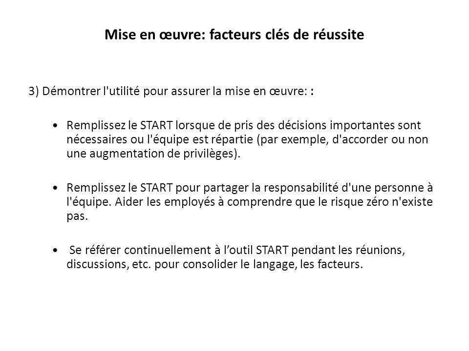 Mise en œuvre: facteurs clés de réussite 3) Démontrer l'utilité pour assurer la mise en œuvre: : Remplissez le START lorsque de pris des décisions imp