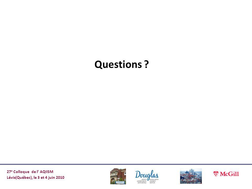 Questions ? 27 e Colloque de l AQIISM Lévis(Québec), le 3 et 4 juin 2010