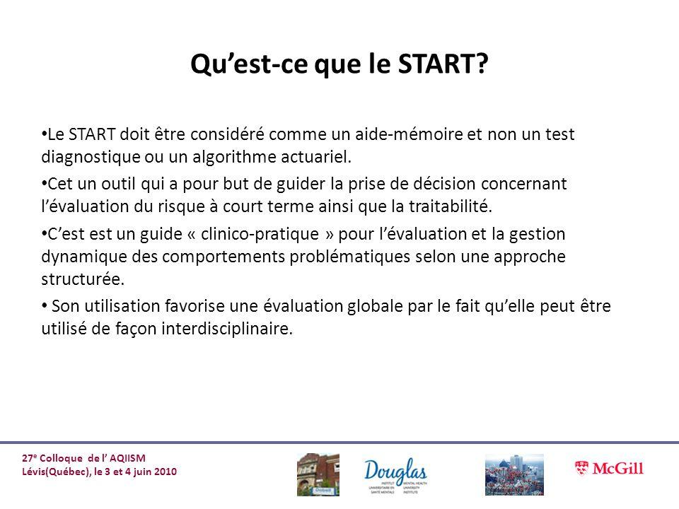 Quest-ce que le START? Le START doit être considéré comme un aide-mémoire et non un test diagnostique ou un algorithme actuariel. Cet un outil qui a p