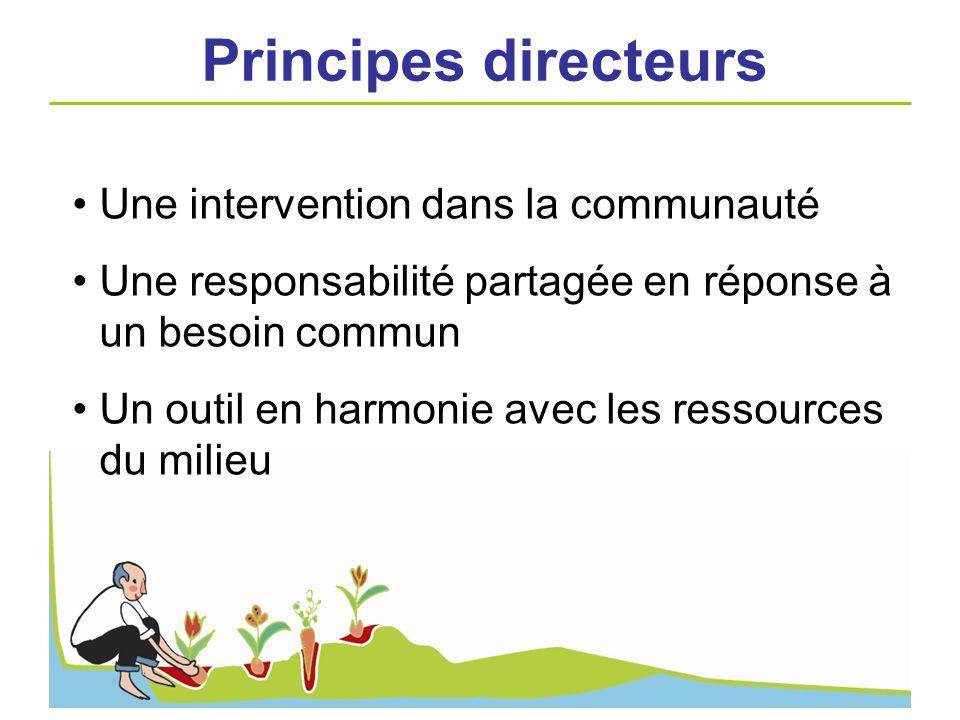 Une intervention dans la communauté Une responsabilité partagée en réponse à un besoin commun Un outil en harmonie avec les ressources du milieu Princ