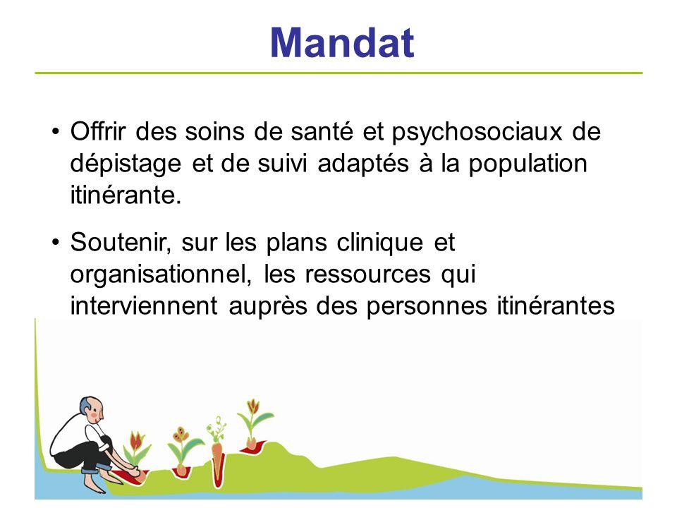 Offrir des soins de santé et psychosociaux de dépistage et de suivi adaptés à la population itinérante. Soutenir, sur les plans clinique et organisati