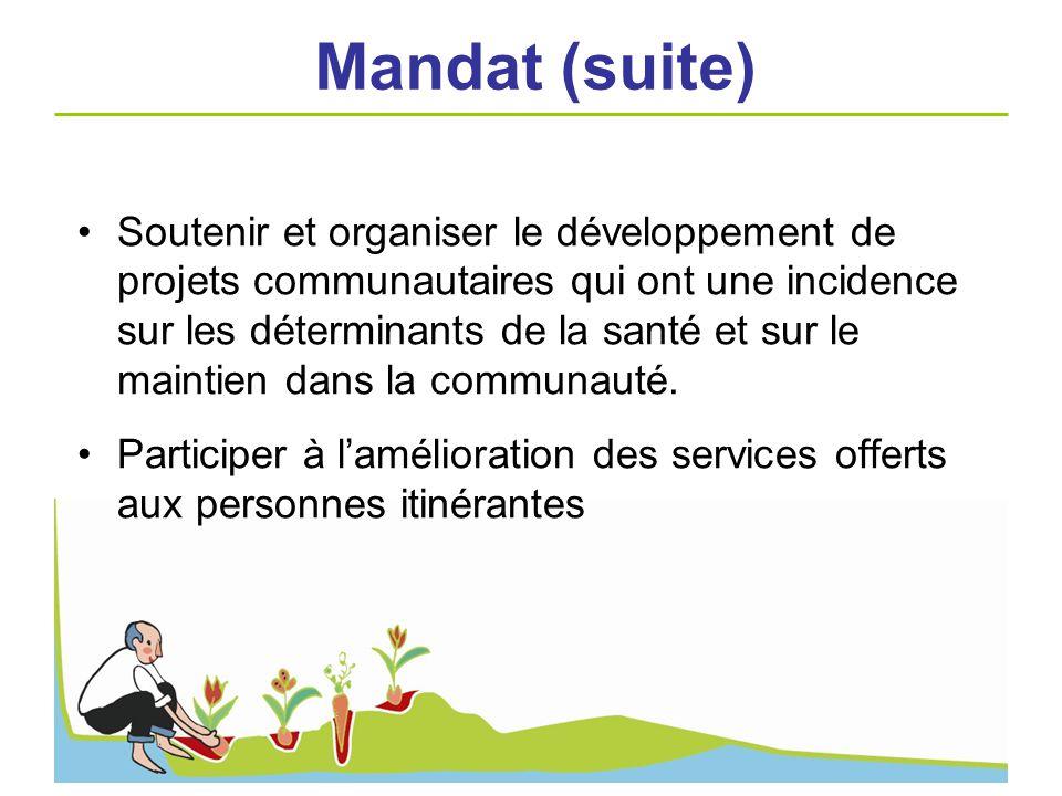Soutenir et organiser le développement de projets communautaires qui ont une incidence sur les déterminants de la santé et sur le maintien dans la com