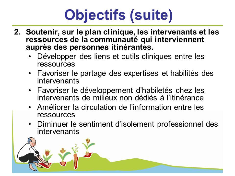 2.Soutenir, sur le plan clinique, les intervenants et les ressources de la communauté qui interviennent auprès des personnes itinérantes. Développer d