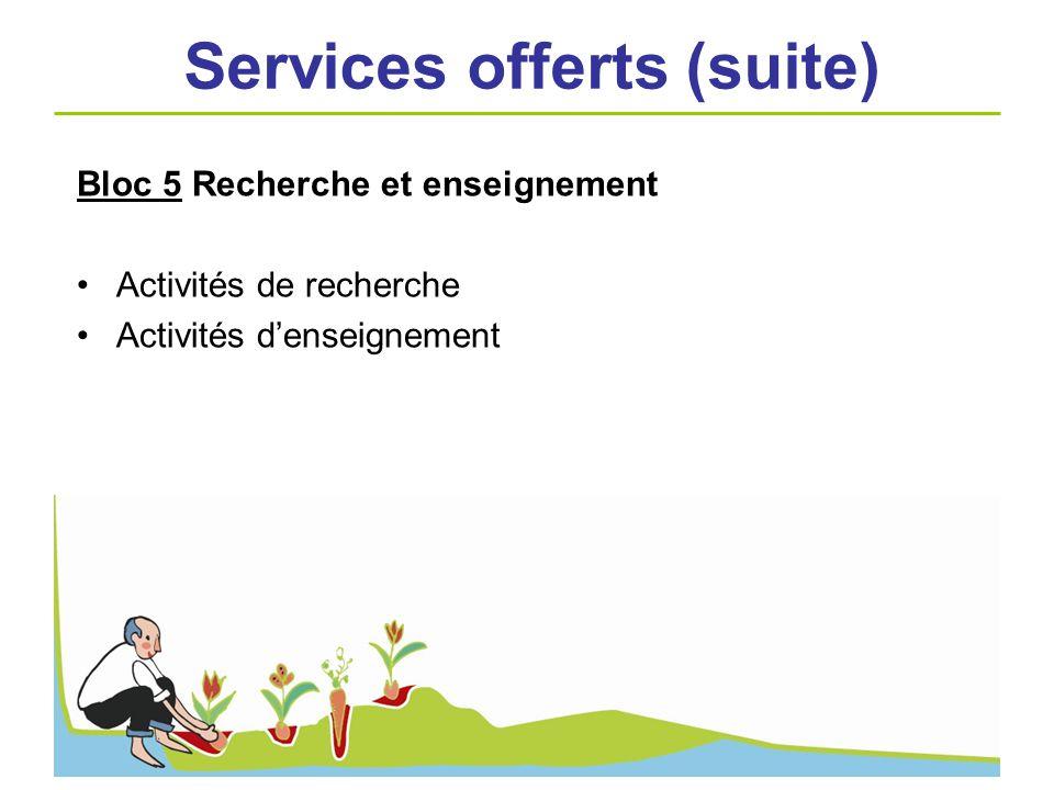 Bloc 5 Recherche et enseignement Activités de recherche Activités denseignement Services offerts (suite)