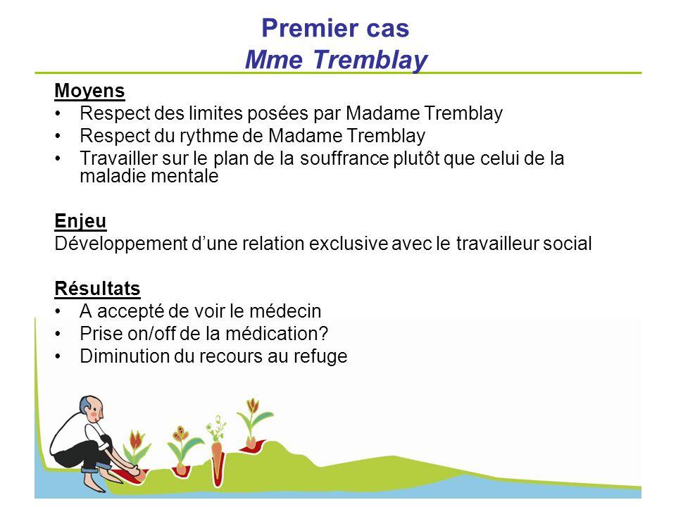 Premier cas Mme Tremblay Moyens Respect des limites posées par Madame Tremblay Respect du rythme de Madame Tremblay Travailler sur le plan de la souff