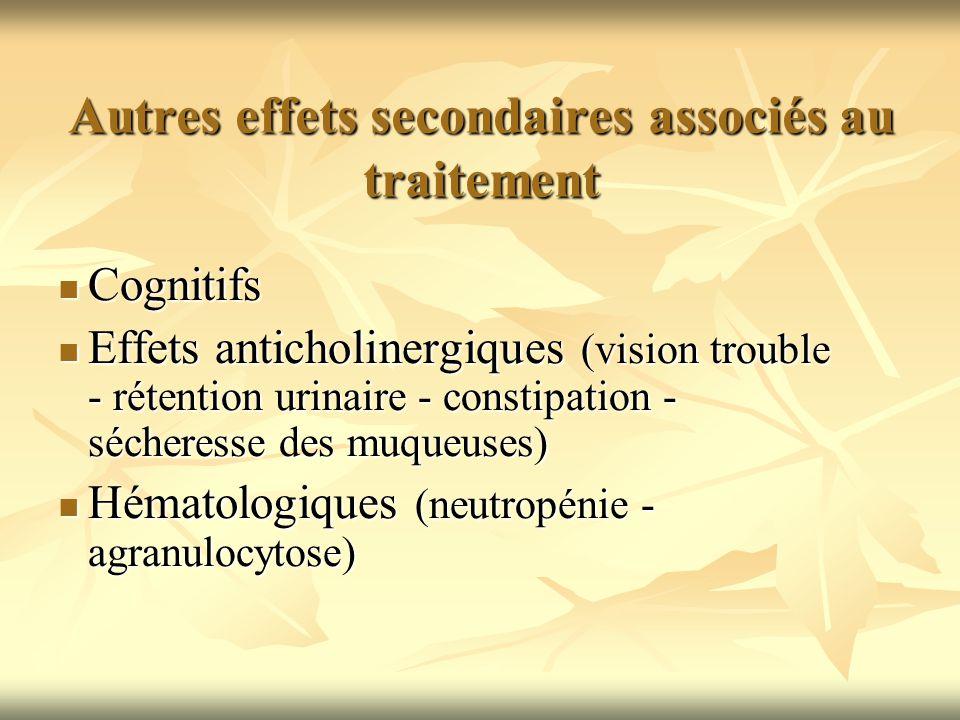 Autres effets secondaires associés au traitement Cognitifs Cognitifs Effets anticholinergiques (vision trouble - rétention urinaire - constipation - s