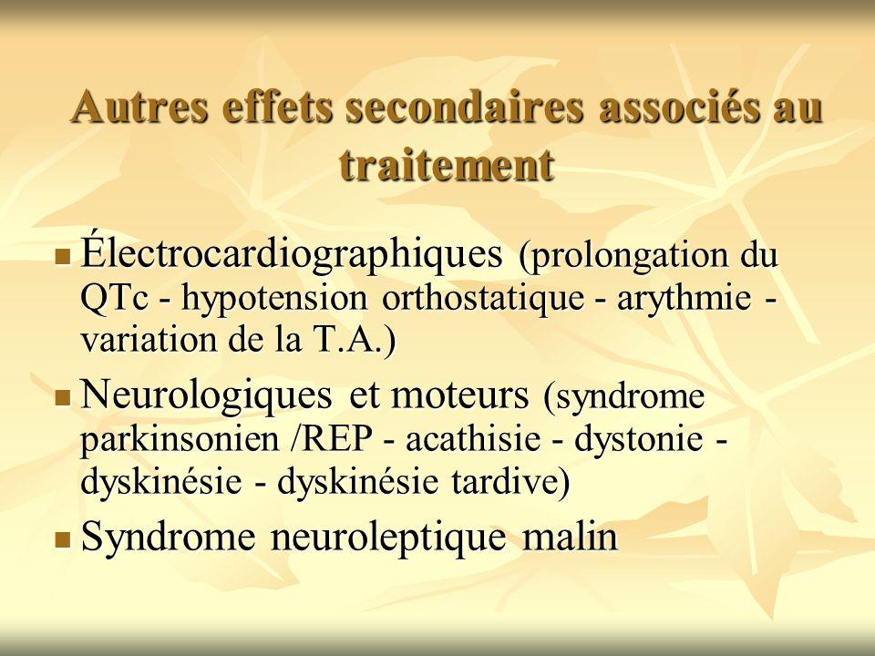 Autres effets secondaires associés au traitement Électrocardiographiques (prolongation du QTc - hypotension orthostatique - arythmie - variation de la
