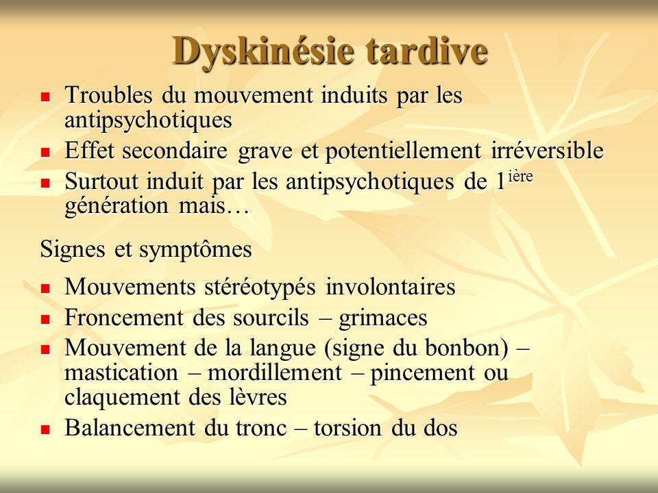 Dyskinésie tardive Troubles du mouvement induits par les antipsychotiques Troubles du mouvement induits par les antipsychotiques Effet secondaire grav