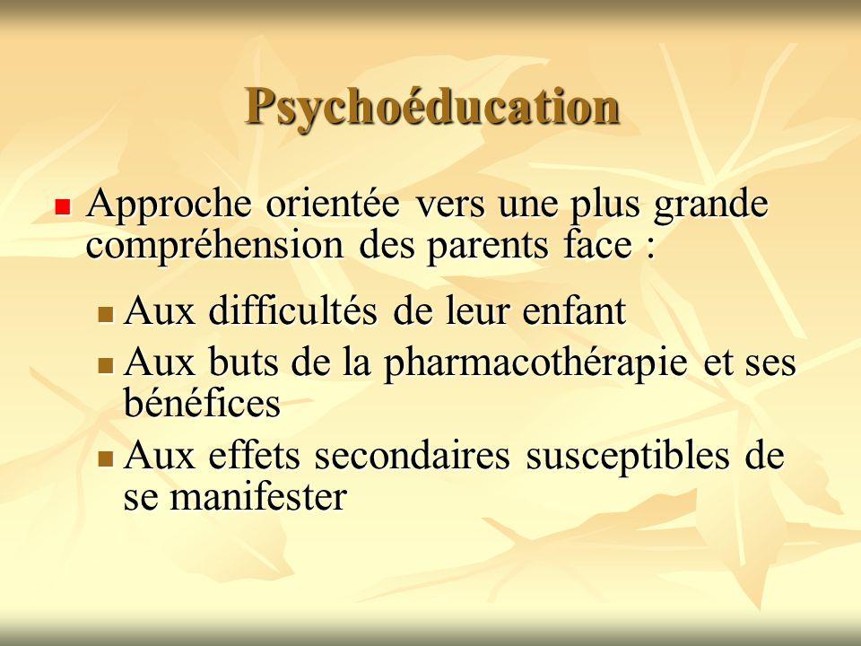 Psychoéducation Approche orientée vers une plus grande compréhension des parents face : Approche orientée vers une plus grande compréhension des paren