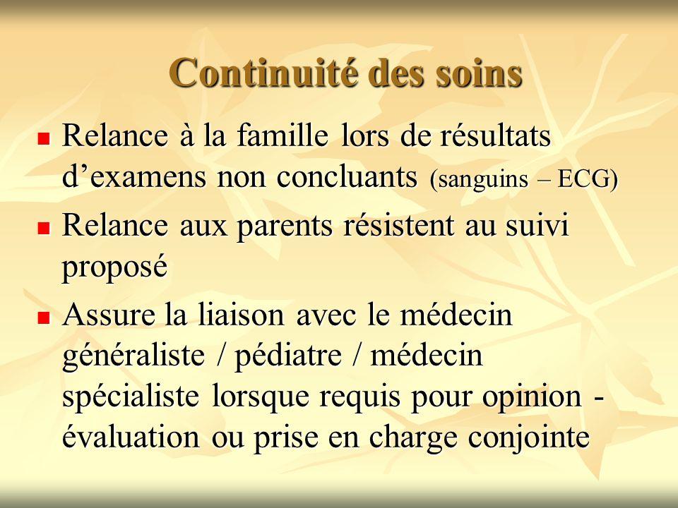 Continuité des soins Relance à la famille lors de résultats dexamens non concluants (sanguins – ECG) Relance à la famille lors de résultats dexamens n