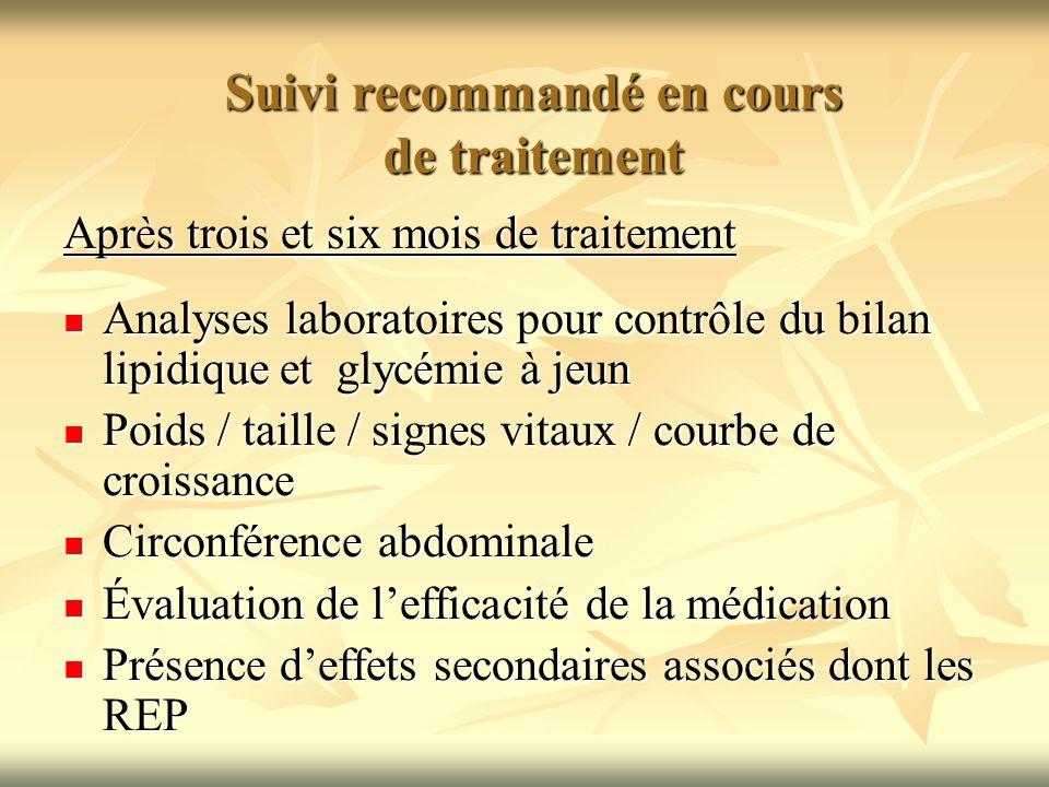 Suivi recommandé en cours de traitement Suivi recommandé en cours de traitement Après trois et six mois de traitement Analyses laboratoires pour contr