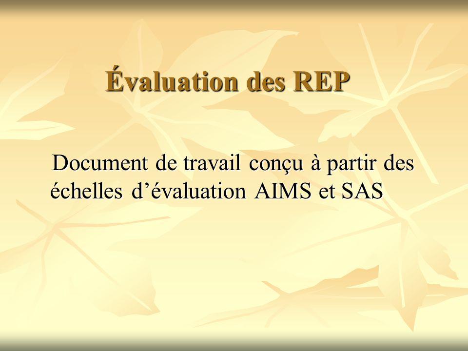 Évaluation des REP Document de travail conçu à partir des échelles dévaluation AIMS et SAS