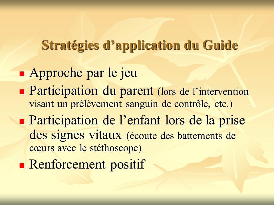 Stratégies dapplication du Guide Approche par le jeu Approche par le jeu Participation du parent (lors de lintervention visant un prélèvement sanguin